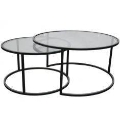 Ethan Iron & Glass Nesting Coffee Table