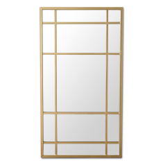 Lucia Gold Rimmed 15 Pane Tall Mirror